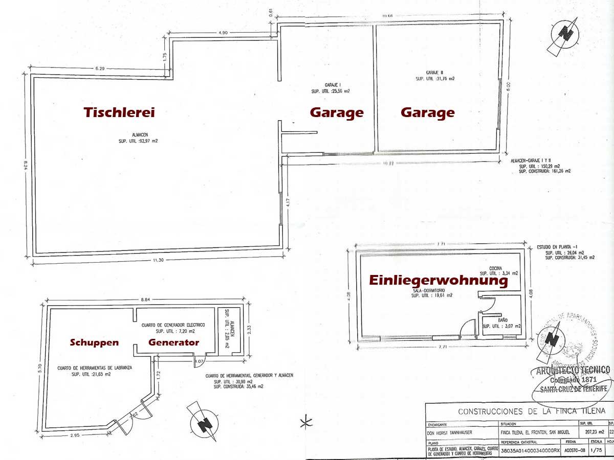Tischlerei werkstatt grundriss  Biofinca Teneriffa Einfamilienhaus Bauernhaus Schreinerei San ...